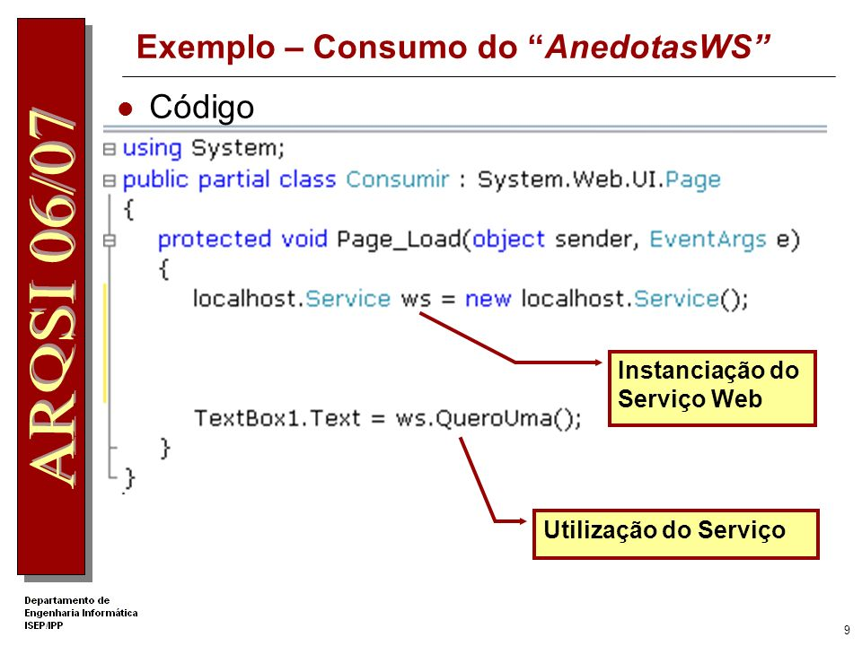 8 Exemplo – Consumo do AnedotasWS Add Web Reference
