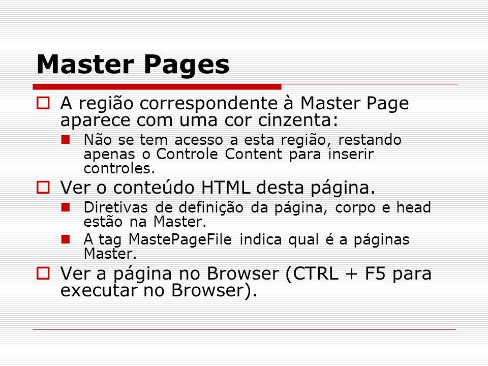 Master Pages A região correspondente à Master Page aparece com uma cor cinzenta: Não se tem acesso a esta região, restando apenas o Controle Content para inserir controles.