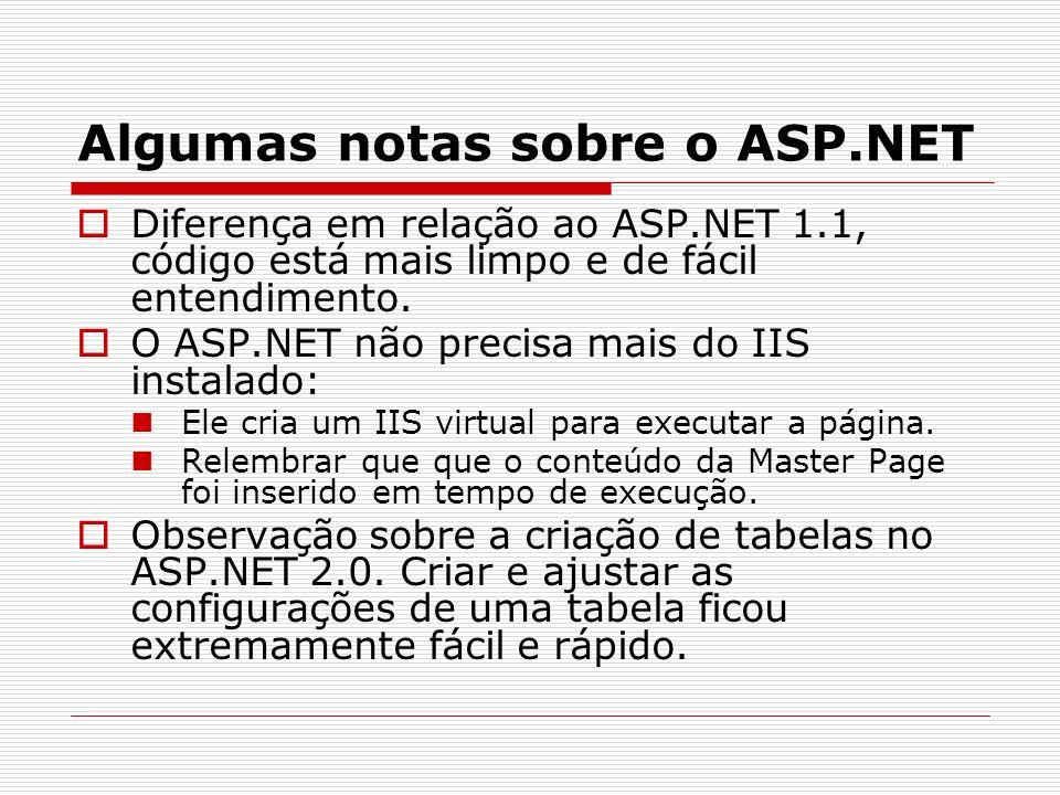 Algumas notas sobre o ASP.NET Diferença em relação ao ASP.NET 1.1, código está mais limpo e de fácil entendimento.