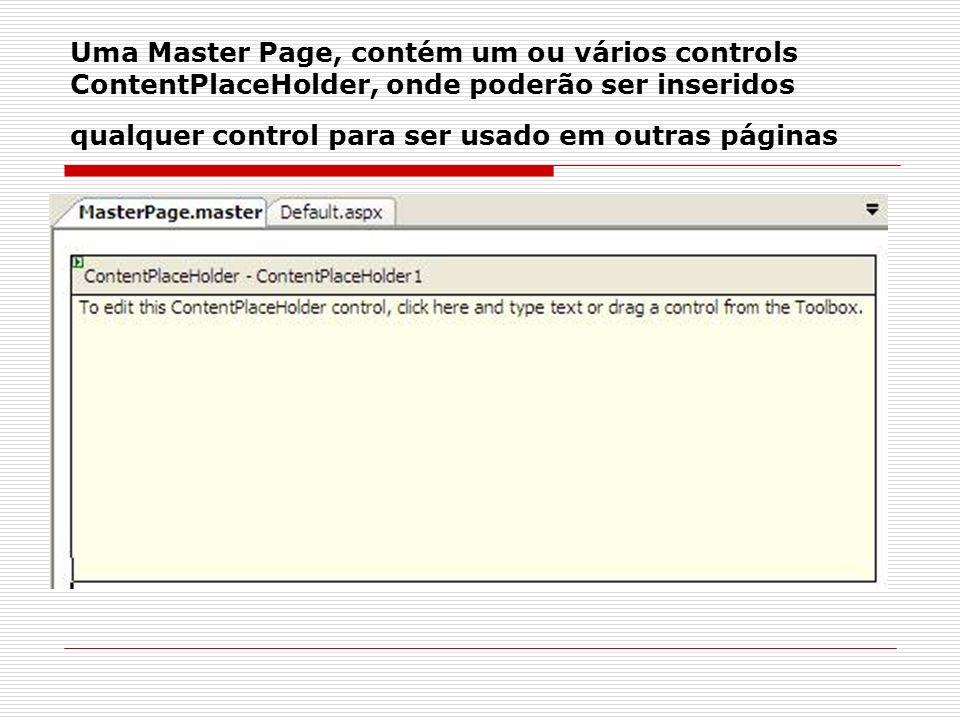 Uma Master Page, contém um ou vários controls ContentPlaceHolder, onde poderão ser inseridos qualquer control para ser usado em outras páginas