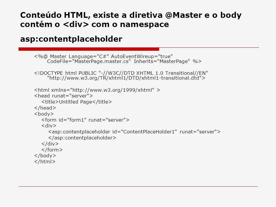Conteúdo HTML, existe a diretiva @Master e o body contém o com o namespace asp:contentplaceholder Untitled Page