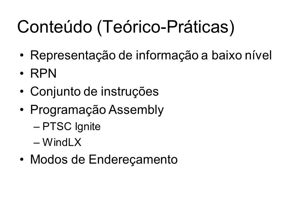Representação de informação a baixo nível RPN Conjunto de instruções Programação Assembly –PTSC Ignite –WindLX Modos de Endereçamento Conteúdo (Teóric