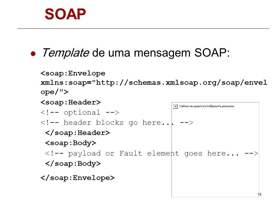 13 SOAP SOAP é um protocolo, baseado em XML, para troca de mensagens entre aplicações Define: A estrutura das mensagens Um modelo de processamento que