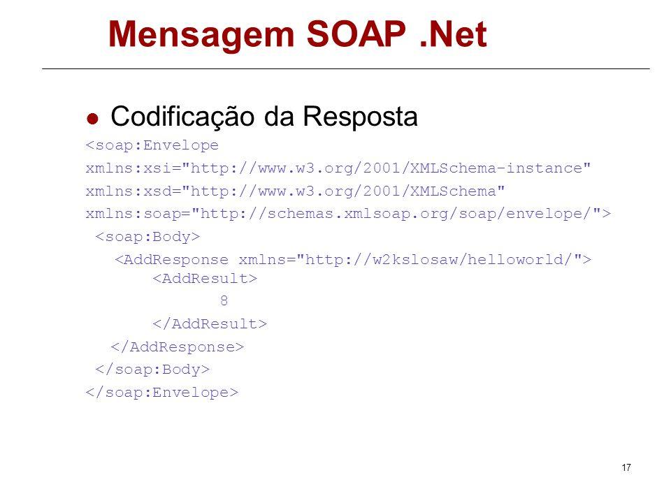 16 Mensagem SOAP.Net Codificação da chamada Add(3,5) <soap:Envelope xmlns:soap=