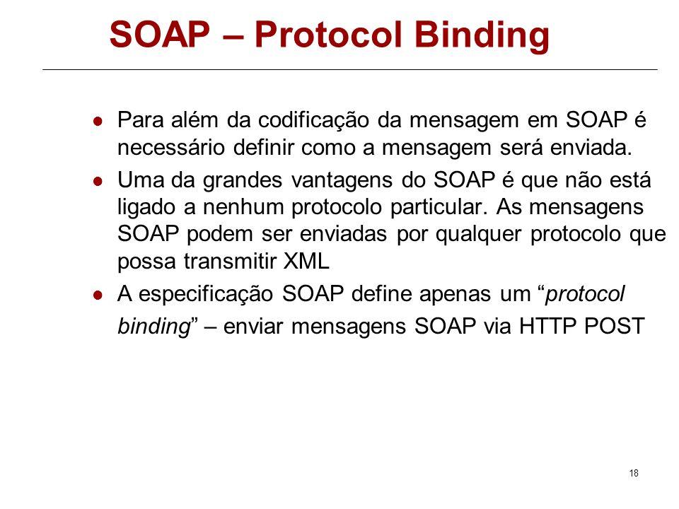17 Mensagem SOAP.Net Codificação da Resposta <soap:Envelope xmlns:xsi=