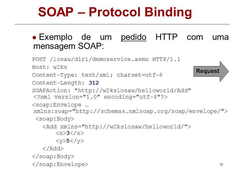 18 SOAP – Protocol Binding Para além da codificação da mensagem em SOAP é necessário definir como a mensagem será enviada. Uma da grandes vantagens do