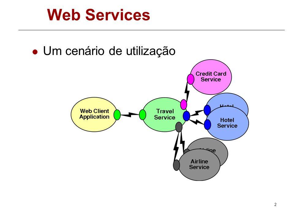 Método Somar no cliente [System.Web.Services.Protocols.SoapDocumentMethodAttribute( h ttp://tempuri.org/Somar , RequestNamespace= http://tempuri.org/ , ResponseNamespace= http://tempuri.org/ , Use=System.Web.Services.Description.SoapBindingUse.Literal, ParameterStyle=System.Web.Services.Protocols.SoapParameterS tyle.Wrapped)] public int Somar (int x, int y) { object[] results = this.Invoke( Somar , new object[] { x, y}); return ((int)(results[0])) } Método Invoque chama o serviço, passando um array com os parâmetros 52