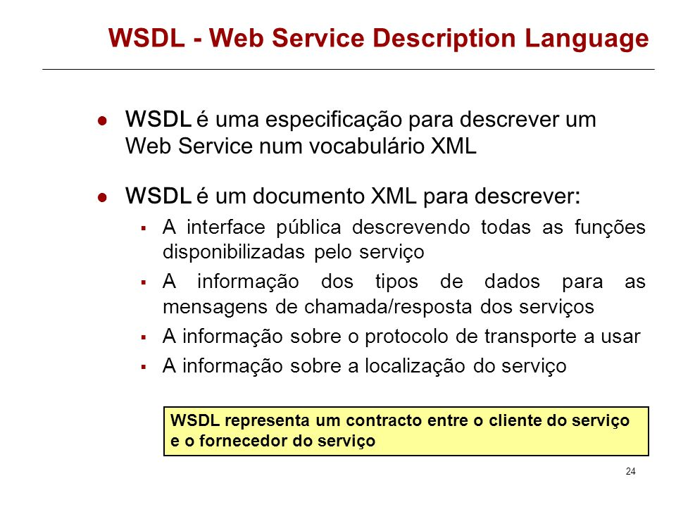 23 WSDL WSDL is an XML format for describing network services as a set of endpoints operating on messages containing either document-oriented or proce