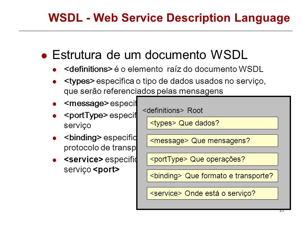 24 WSDL - Web Service Description Language WSDL é uma especificação para descrever um Web Service num vocabulário XML WSDL é um documento XML para des