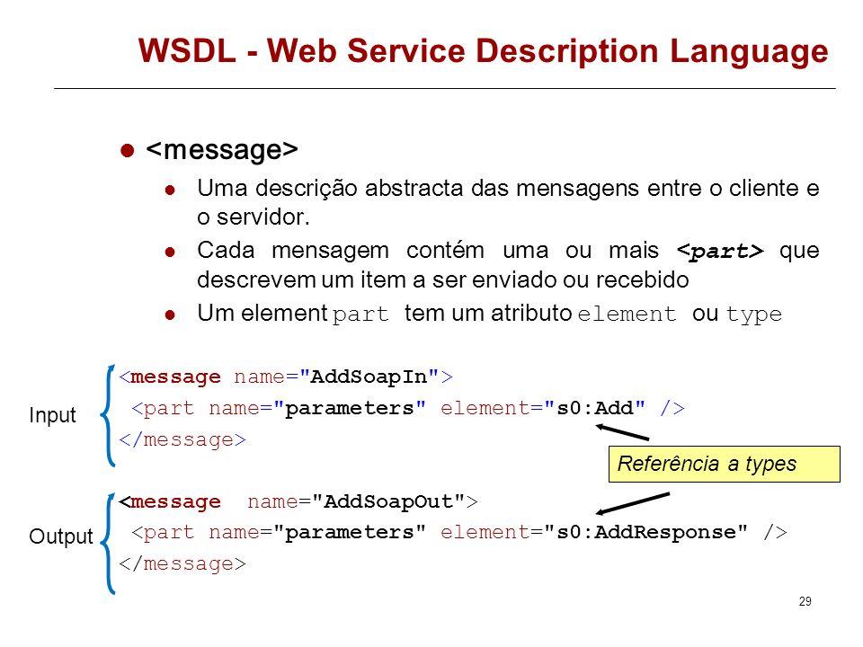 WSDL element – AddResponse – (tipo de dados da resposta ) 28 <s:element minOccurs=
