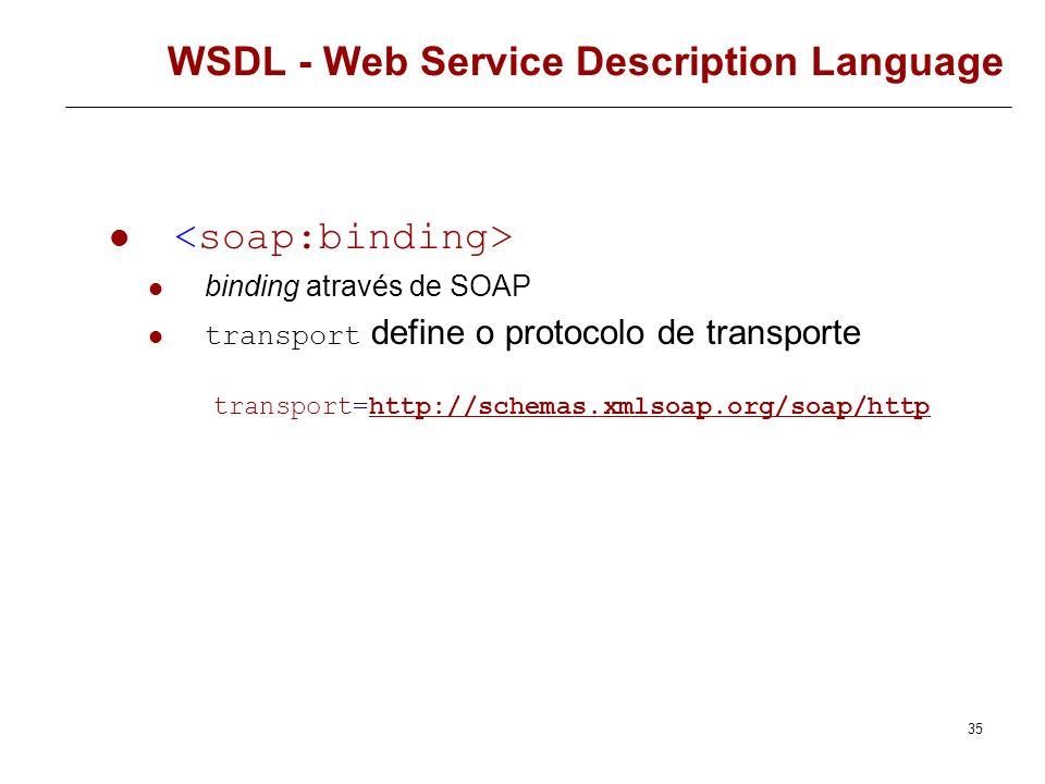 34 WSDL - Web Service Description Language Descreve os detalhes concretos da utilização de um determinado portType, com um dado protocolo. Define o fo