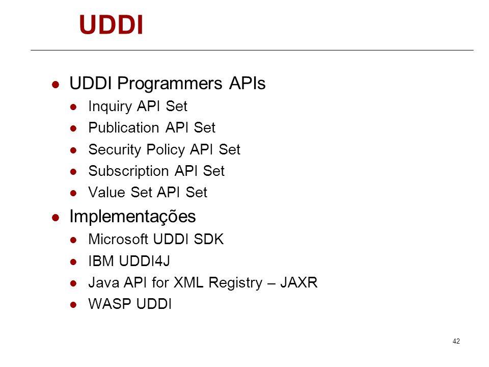 41 UDDI Repositórios UDDi de teste http://test.uddi.microsoft.com/ https://uddi.ibm.com/testregistry/registry.html http://udditest.sap.com Replicação
