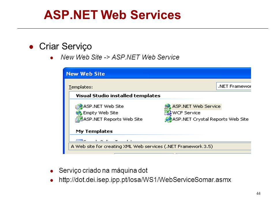 43 ASP.NET Web Services Exemplos 1 – Criar Web Service.Net básico 2 – Criar Cliente do serviço 3 – Criar cliente para o serviço na máquina dot http://