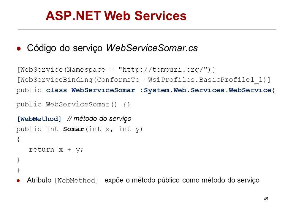 ASP.NET Web Services Criar Serviço New Web Site -> ASP.NET Web Service Serviço criado na máquina dot http://dot.dei.isep.ipp.pt/losa/WS1/WebServiceSom