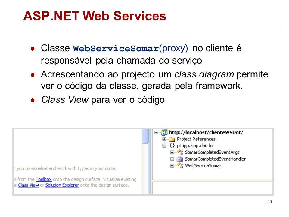 ASP.NET Web Services Código do cliente do serviço int x = 5; int y = 7; //criar objecto proxy para chamar o serviço WebServiceSomar proxy = new WebSer