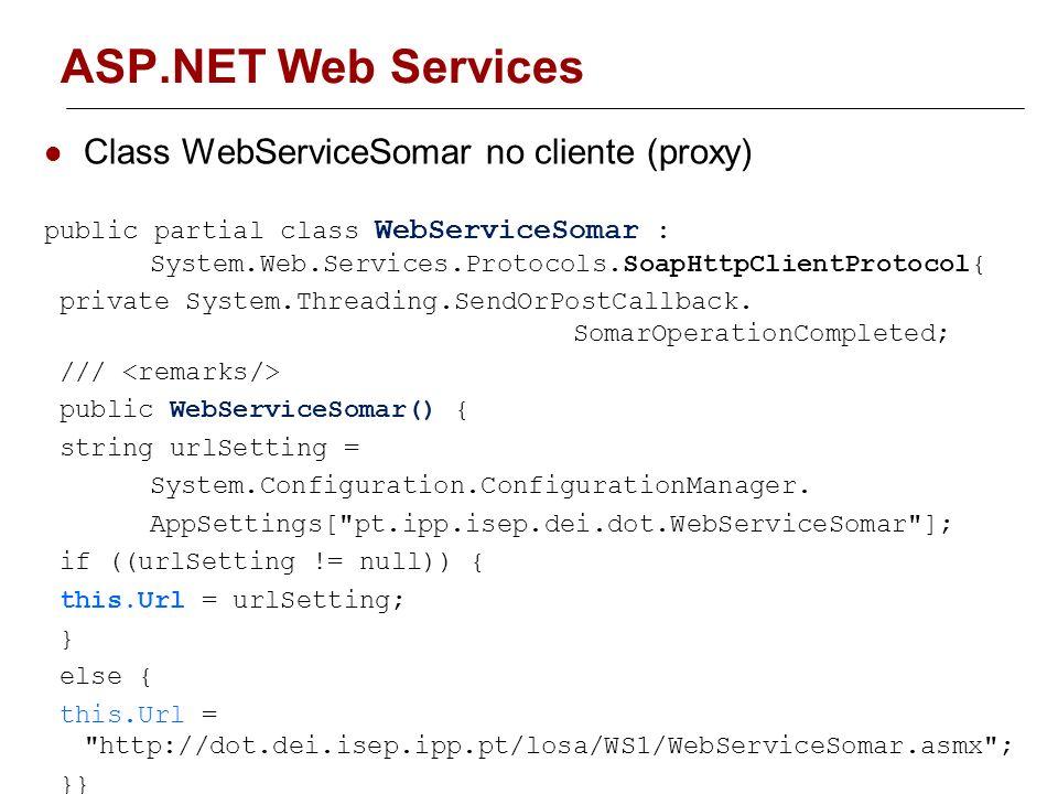 ASP.NET Web Services Classe WebServiceSomar(proxy) no cliente é responsável pela chamada do serviço Acrescentando ao projecto um class diagram permite