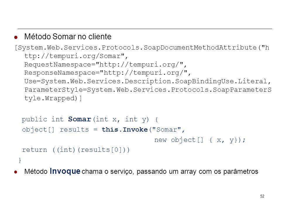 ASP.NET Web Services Class WebServiceSomar no cliente (proxy) public partial class WebServiceSomar : System.Web.Services.Protocols.SoapHttpClientProto