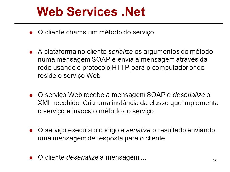 53 Web Services.Net Framework.Net para Web Service Fonte: Anatomy of an XML Web Service Lifetime -.NET Framework Developer's Guide
