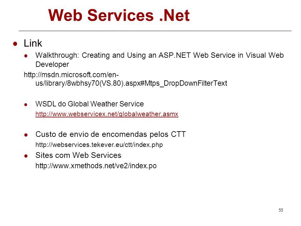 54 Web Services.Net O cliente chama um método do serviço A plataforma no cliente serialize os argumentos do método numa mensagem SOAP e envia a mensag