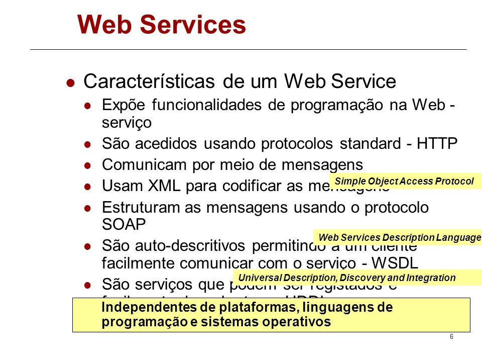 5 Web Services Antecedentes DCOM – Distributed Component Object Model CORBA -Common Object Request Broker Architecture Java RMI – Remote Method Invoca