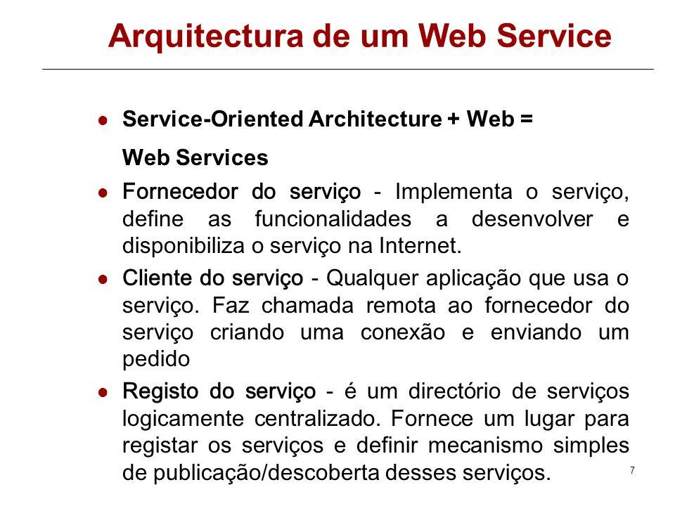 7 Arquitectura de um Web Service Service-Oriented Architecture + Web = Web Services Fornecedor do serviço - Implementa o serviço, define as funcionalidades a desenvolver e disponibiliza o serviço na Internet.