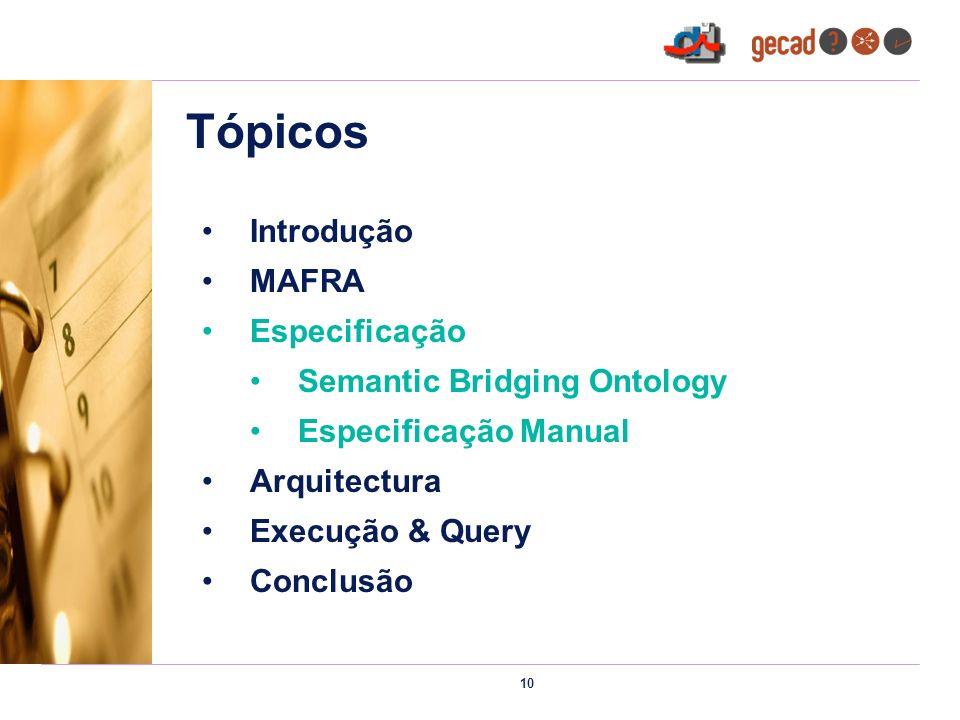 10 Tópicos Introdução MAFRA Especificação Semantic Bridging Ontology Especificação Manual Arquitectura Execução & Query Conclusão
