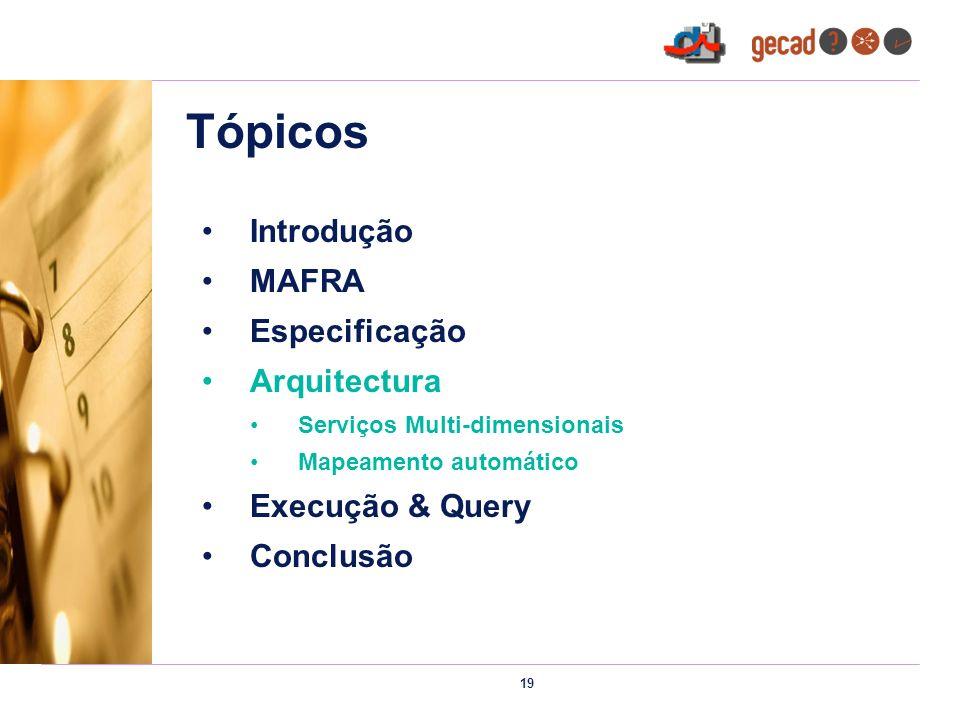 19 Tópicos Introdução MAFRA Especificação Arquitectura Serviços Multi-dimensionais Mapeamento automático Execução & Query Conclusão
