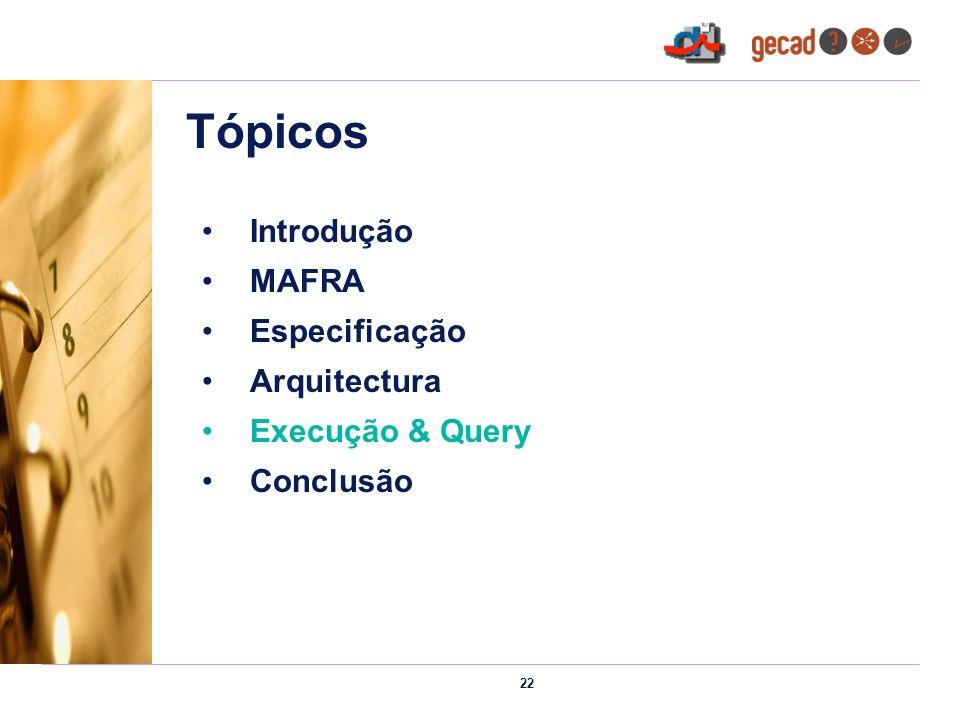 22 Tópicos Introdução MAFRA Especificação Arquitectura Execução & Query Conclusão