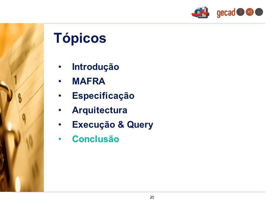 25 Tópicos Introdução MAFRA Especificação Arquitectura Execução & Query Conclusão