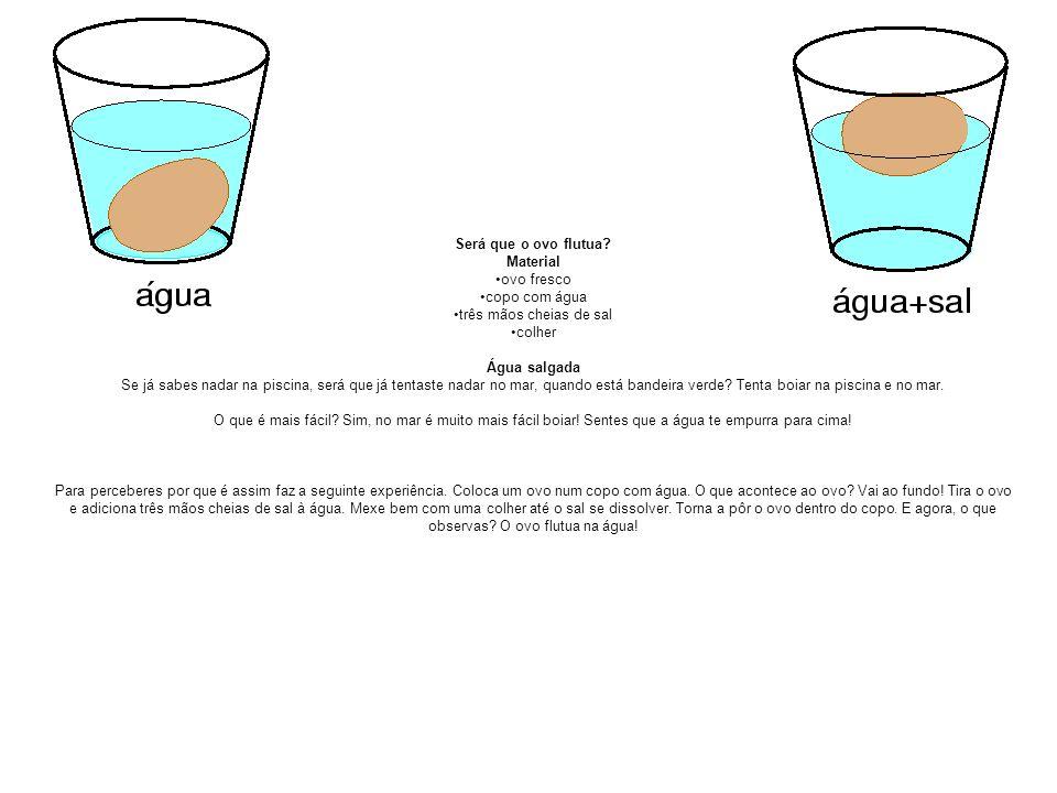 Será que o ovo flutua? Material ovo fresco copo com água três mãos cheias de sal colher Água salgada Se já sabes nadar na piscina, será que já tentast