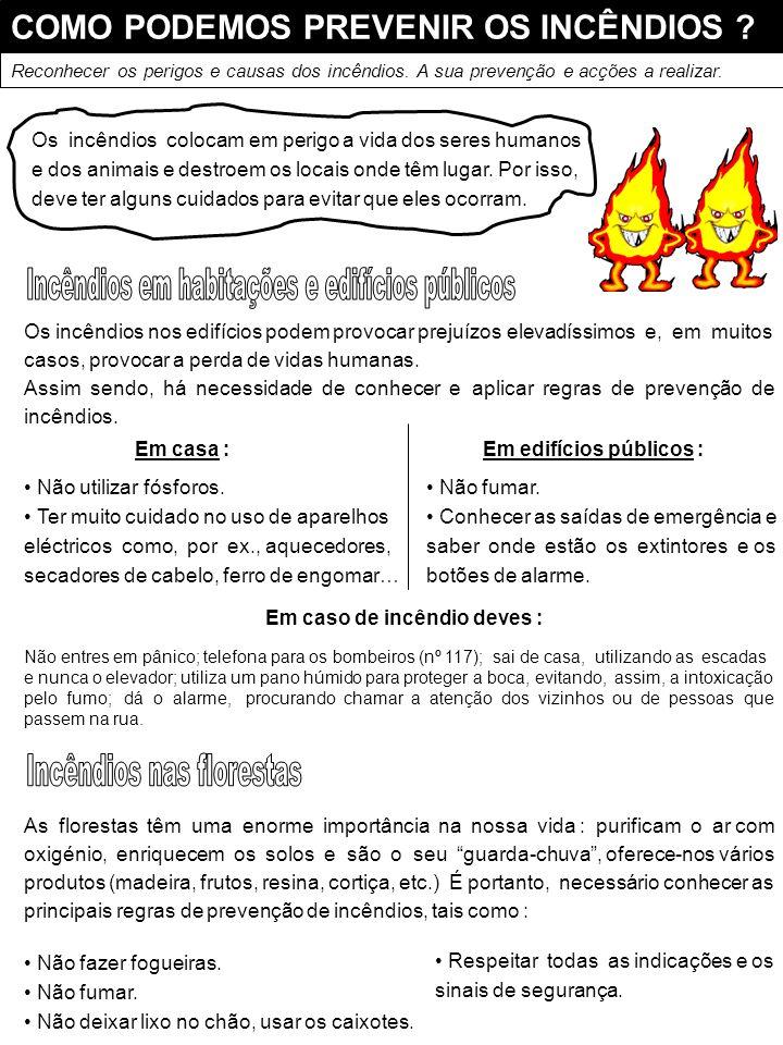 COMO PODEMOS PREVENIR OS INCÊNDIOS ? Os incêndios nos edifícios podem provocar prejuízos elevadíssimos e, em muitos casos, provocar a perda de vidas h