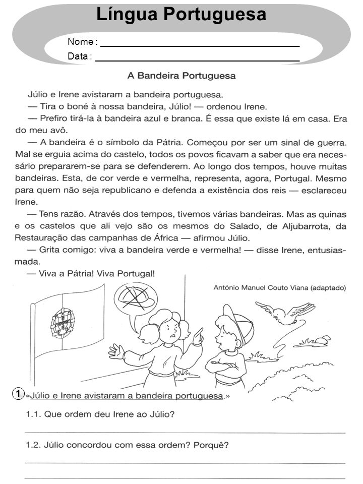 1 Língua Portuguesa Nome : ______________________________________ Data : _______________________________________