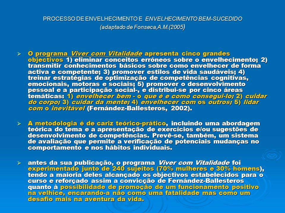 PROCESSO DE ENVELHECIMENTO E ENVELHECIMENTO BEM-SUCEDIDO (adaptado de Fonseca,A.M.(2005 ) O programa Viver com Vitalidade apresenta cinco grandes obje