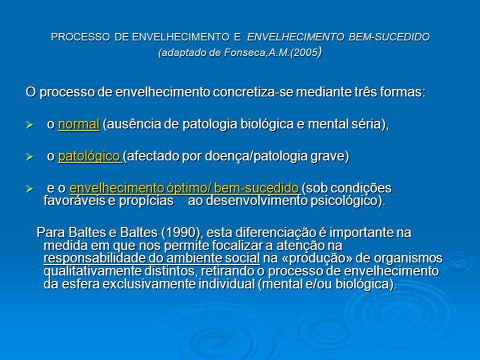 PROCESSO DE ENVELHECIMENTO E ENVELHECIMENTO BEM-SUCEDIDO (adaptado de Fonseca,A.M.(2005 ) O processo de envelhecimento concretiza-se mediante três formas: o normal (ausência de patologia biológica e mental séria), o normal (ausência de patologia biológica e mental séria), o patológico (afectado por doença/patologia grave) o patológico (afectado por doença/patologia grave) e o envelhecimento óptimo/ bem-sucedido (sob condições favoráveis e propícias ao desenvolvimento psicológico).