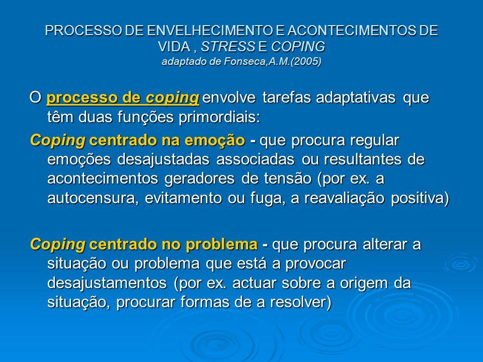 PROCESSO DE ENVELHECIMENTO E ACONTECIMENTOS DE VIDA, STRESS E COPING adaptado de Fonseca,A.M.(2005) O processo de coping envolve tarefas adaptativas q