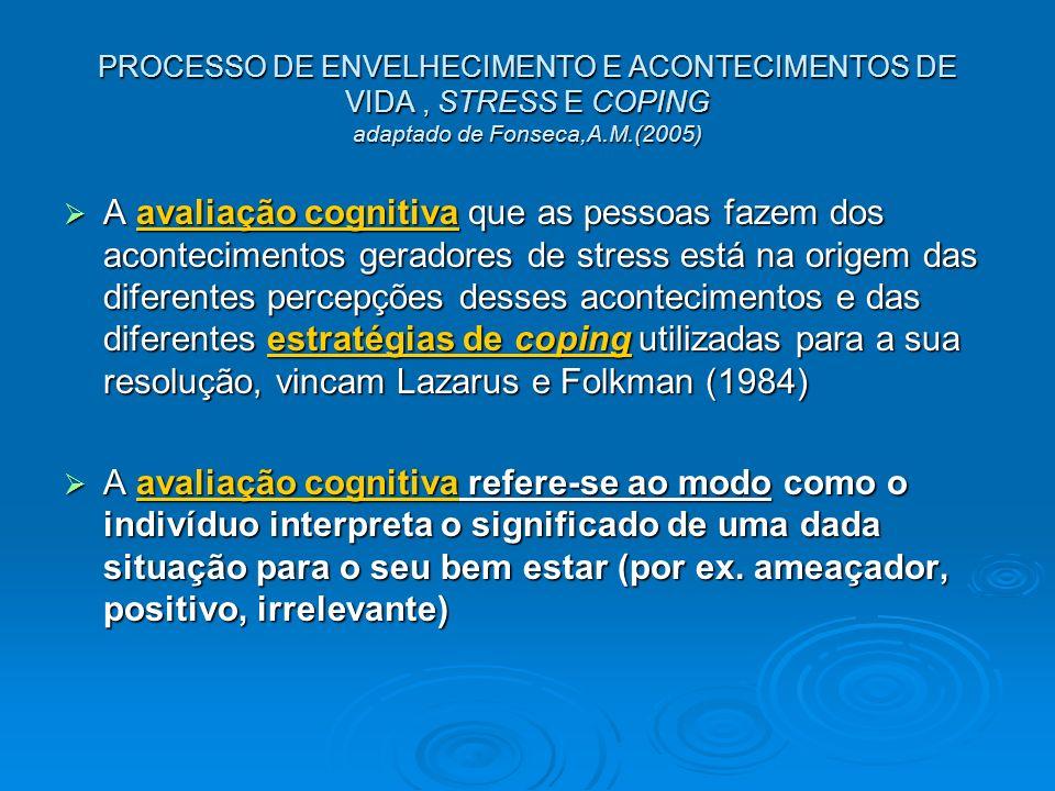 PROCESSO DE ENVELHECIMENTO E ACONTECIMENTOS DE VIDA, STRESS E COPING adaptado de Fonseca,A.M.(2005) A avaliação cognitiva que as pessoas fazem dos aco