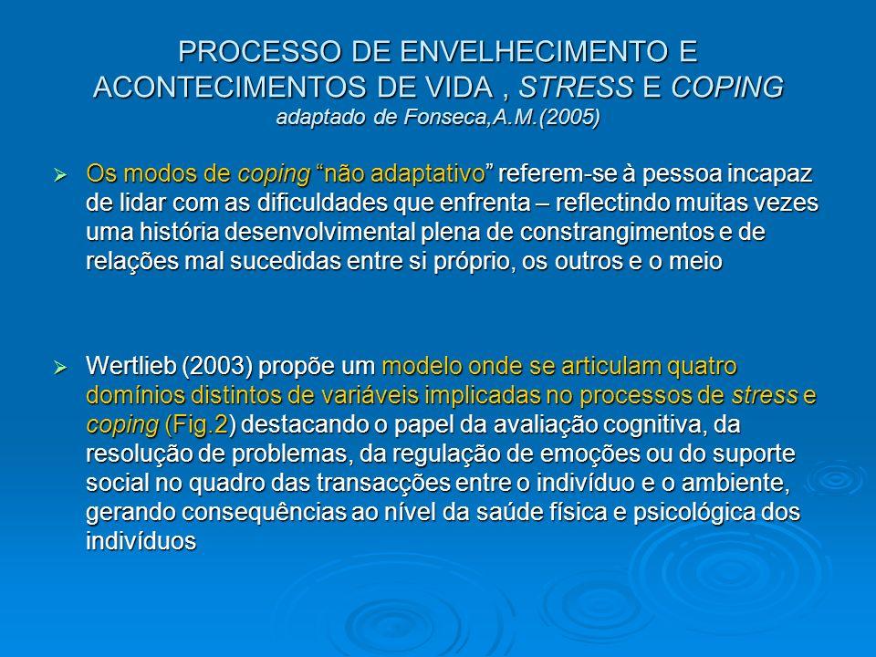 PROCESSO DE ENVELHECIMENTO E ACONTECIMENTOS DE VIDA, STRESS E COPING adaptado de Fonseca,A.M.(2005) Os modos de coping não adaptativo referem-se à pes