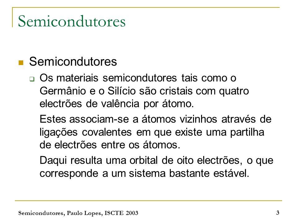 Semicondutores, Paulo Lopes, ISCTE 2003 3 Semicondutores Os materiais semicondutores tais como o Germânio e o Silício são cristais com quatro electrõe