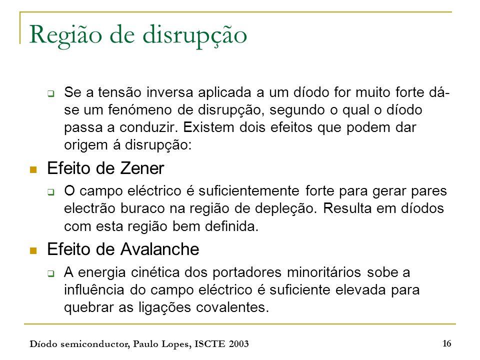 Díodo semiconductor, Paulo Lopes, ISCTE 2003 16 Região de disrupção Se a tensão inversa aplicada a um díodo for muito forte dá- se um fenómeno de disr
