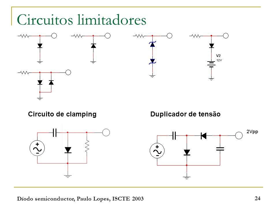 Díodo semiconductor, Paulo Lopes, ISCTE 2003 24 Circuitos limitadores Circuito de clampingDuplicador de tensão