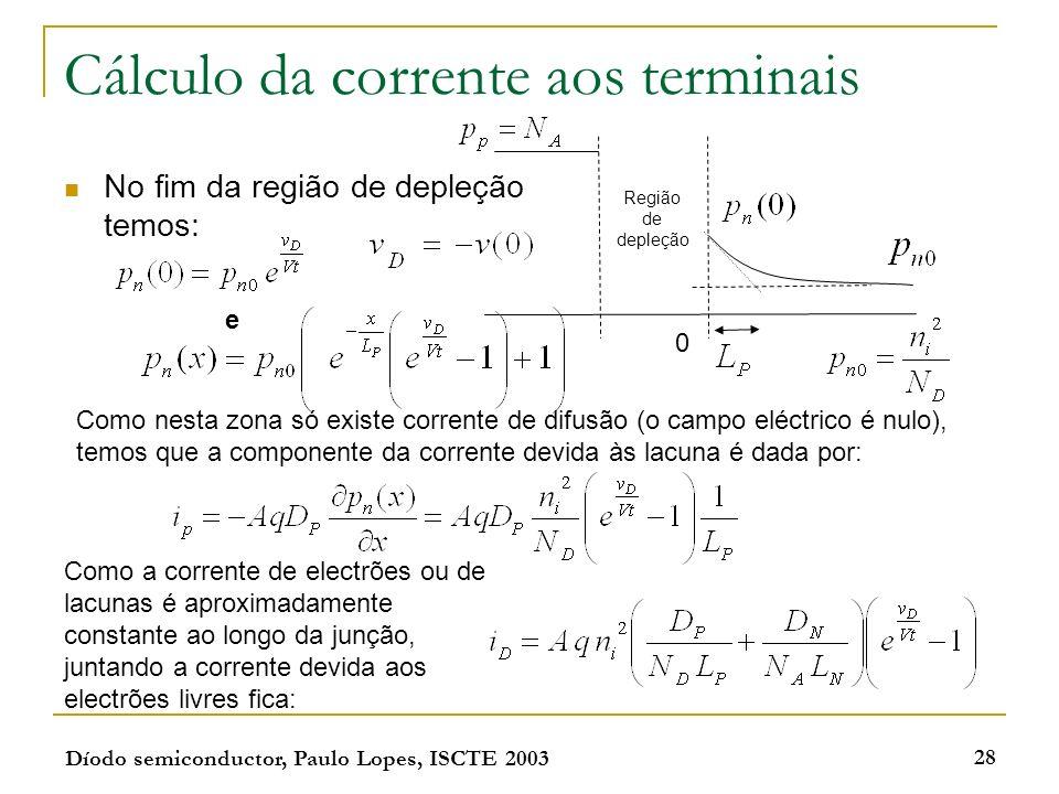 Díodo semiconductor, Paulo Lopes, ISCTE 2003 28 Cálculo da corrente aos terminais No fim da região de depleção temos: e Como nesta zona só existe corr