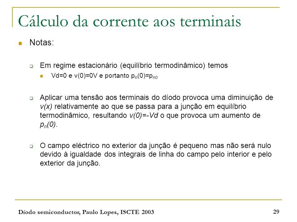 Díodo semiconductor, Paulo Lopes, ISCTE 2003 29 Cálculo da corrente aos terminais Notas: Em regime estacionário (equilíbrio termodinâmico) temos Vd=0