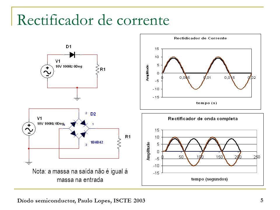 Díodo semiconductor, Paulo Lopes, ISCTE 2003 5 Rectificador de corrente Nota: a massa na saída não é igual á massa na entrada