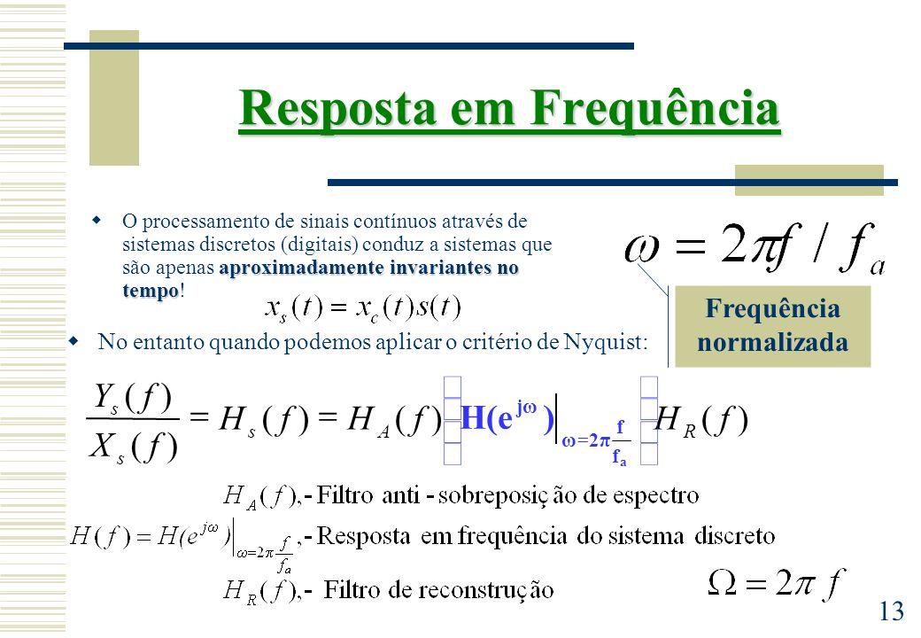 13 Frequência normalizada Resposta em Frequência aproximadamente invariantes no tempo O processamento de sinais contínuos através de sistemas discreto