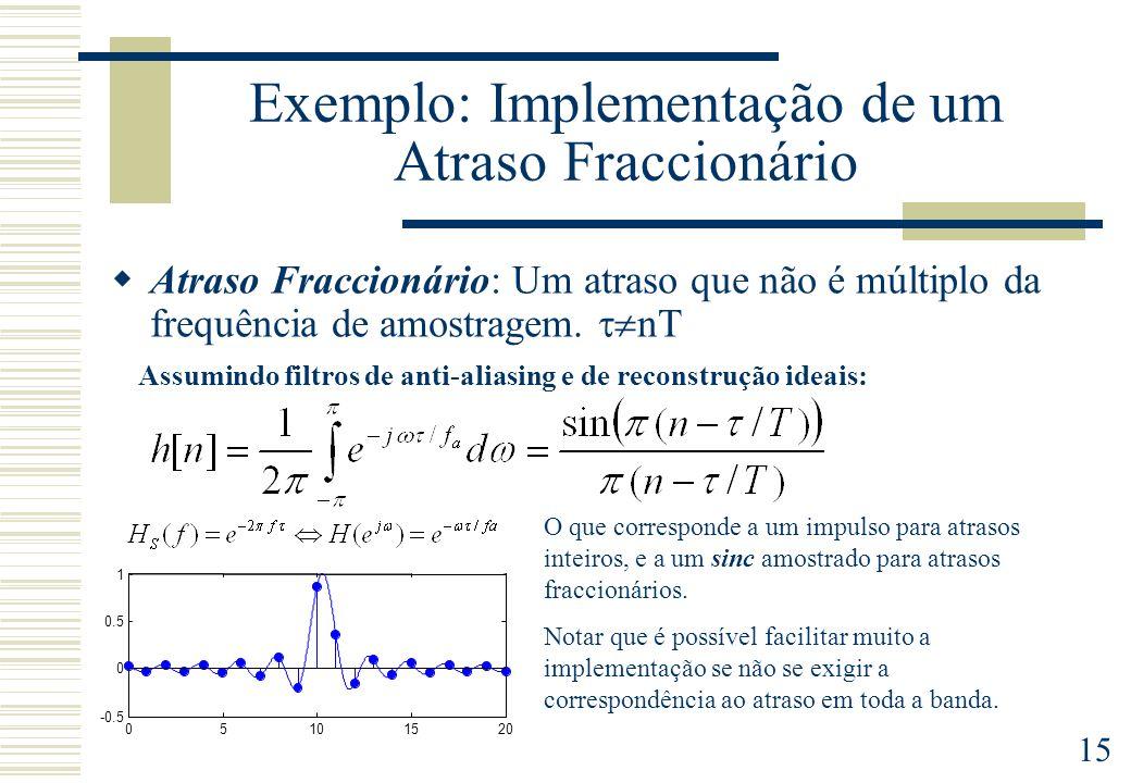 15 Exemplo: Implementação de um Atraso Fraccionário Atraso Fraccionário: Um atraso que não é múltiplo da frequência de amostragem. nT Assumindo filtro
