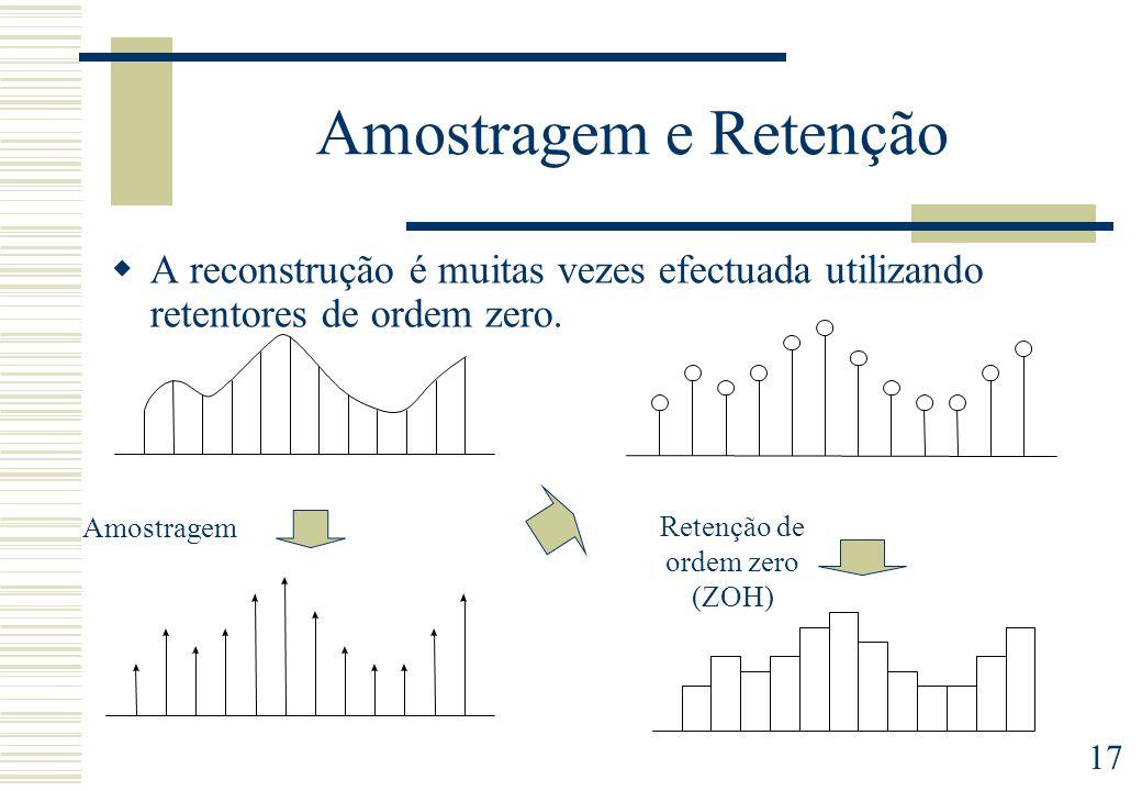 17 Amostragem e Retenção A reconstrução é muitas vezes efectuada utilizando retentores de ordem zero. Amostragem Retenção de ordem zero (ZOH)