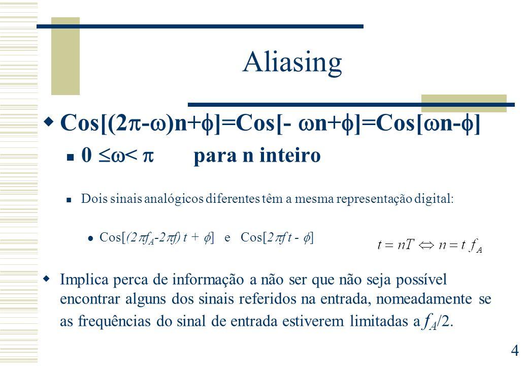 4 Aliasing Cos[(2 - )n+ ]=Cos[- n+ ]=Cos[ n- ] 0 < para n inteiro Dois sinais analógicos diferentes têm a mesma representação digital: Cos[(2 f A -2 f