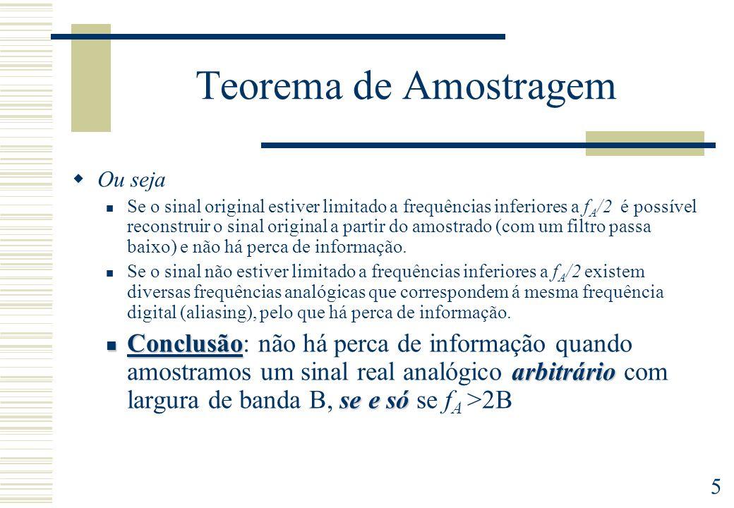 5 Teorema de Amostragem Ou seja Se o sinal original estiver limitado a frequências inferiores a f A /2 é possível reconstruir o sinal original a parti
