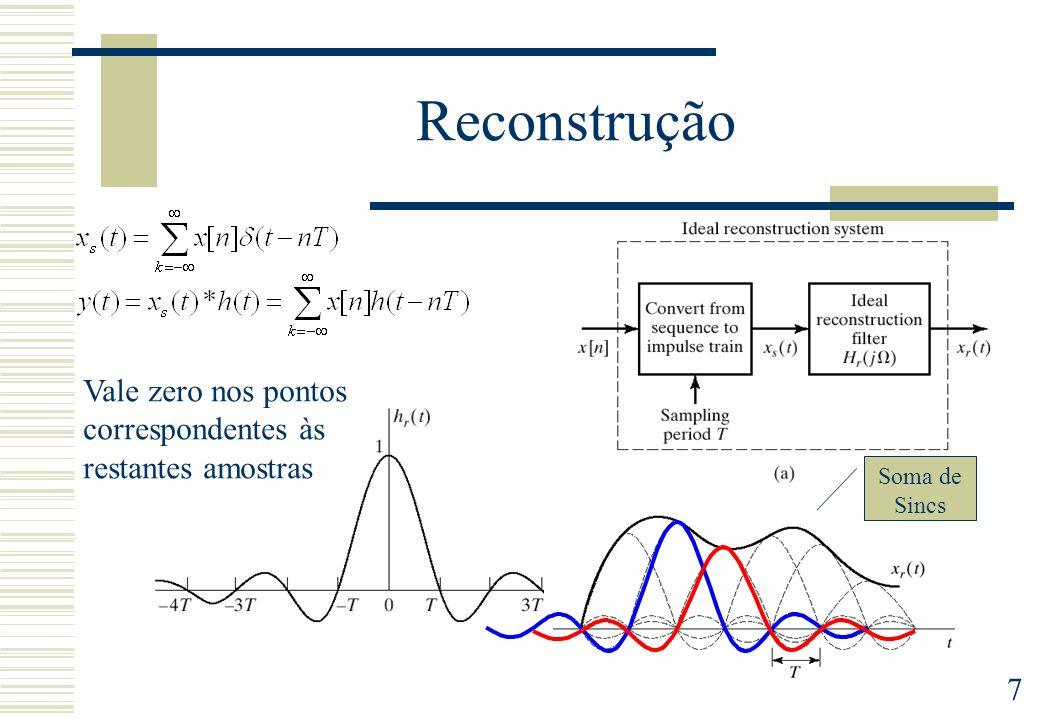 8 Frequência de amostragem Na prática, dependendo da aplicação, a frequência de amostragem deve ser maior do que 2B, por exemplo Fa=4B Tal permite filtros de reconstrução e de anti- aliasing menos selectivos, e mais fácil de implementar na prática.