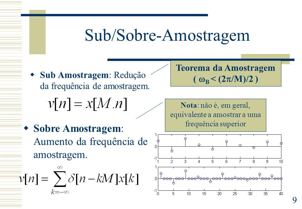 9 Sub/Sobre-Amostragem Sub Amostragem: Redução da frequência de amostragem. Sobre Amostragem: Aumento da frequência de amostragem. Nota: não é, em ger